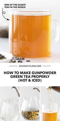 Did you know Gunpowder Green Tea is one of the oldest tea drinks in the world? You've probably even drank it before without realizing it! It's a robust tea flavor that can be made hot or cold. Learn how to make your own in this guide - click to continue. Hot Tea Recipes, Green Tea Recipes, Iced Matcha Green Tea Recipe, Homemade Iced Tea, Green Tea Drinks, Pearl Tea, Cacao, Beverages, Cold