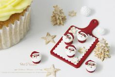THREE Christmas Santa Cupcakes Dollhouse by PetitDlicious on Etsy