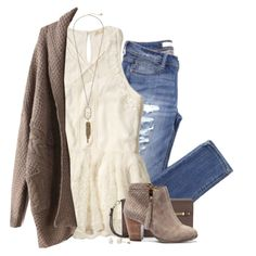 Taupe cardigan, lace tank & ripped jeans