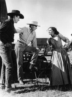 John Wayne, Howard Hawks and Joanne Dru on location for Red River, the first of four pictures Hawks made with Wayne.