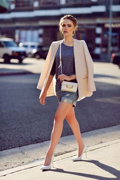 mid-length denim shorts with gray tee and chic blazer