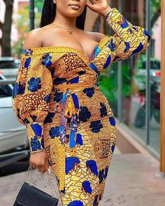 Style:Sexy Pattern Type:Floral Material:Polyester Neckline:V-Neck Sleeve Style:Long Sleeve Length:Midi Occasion:Cocktail & Party Package Dress Note: There might be difference accordi. African Party Dresses, Short African Dresses, African Wedding Dress, Latest African Fashion Dresses, African Print Fashion, Africa Fashion, Short Gowns, Ankara Fashion, African Prints
