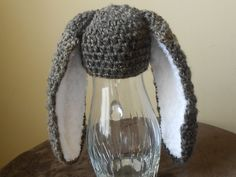 Bunny hat Crochet Hat with Big and Fluffy ears by jwhitevintage, $20.00
