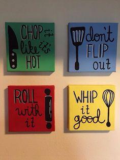 kitchen art canvas set utensils