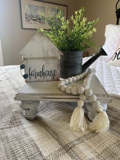 Excited to share this item from my shop: Farmhouse riser/farmhouse pedestal Farmhouse Baskets, Farmhouse Kitchen Decor, Wood Projects, Woodworking Projects, Decorating Coffee Tables, Tray Decor, Wood Crafts, Spindle Crafts, Diy Furniture