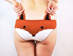 Panties with a fox face and ears lingerie underwear
