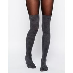ASOS Rib Over The Knee Tights ($6.66) ❤ liked on Polyvore