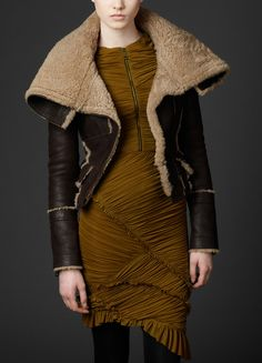 Shearling Giant Collar Tailored Aviator Jacket and this dress! Striking!