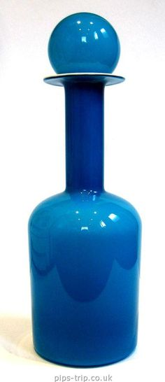 Holmegaard (Denmark) Blue & Opal Cased Glass Gulvvase/Bottle Vase & Stopper by Otto Brauer