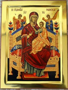 Theotokos Enthroned with the Divine Child. Religious Icons, Religious Art, Byzantine Icons, Divine Mercy, Orthodox Icons, Madonna, Religion, Stationery, Marvel