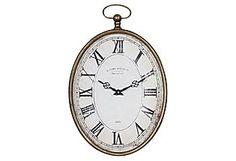 One Kings Lane - Creative Co-Op - Pocket Watch Wall Clock, Vertical
