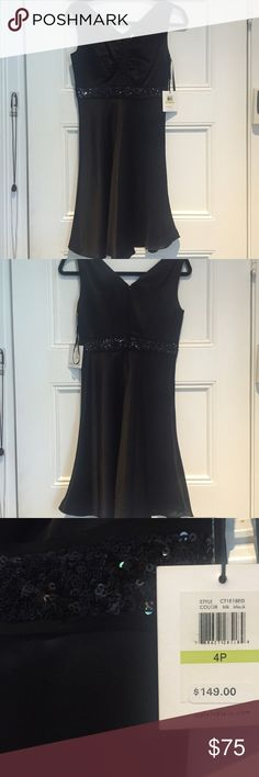 Brand New Calvin Klein Black Sequin Dress This new-with-tag Calvin Kelin sequin dress is fashionable and glamorous. It's a size 4P, which is why I'm selling it (doesn't fit me). It's never been worn. Please ask any questions and send reasonable offers!  Calvin Klein Dresses Prom