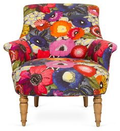 One Kings Lane - From Her Personal Collection - Floral Armchair  Okay - i know it isn't anything like what we've looked at, but could be a flash of femininity by the desk or something? Could be cool against the masculine leather and buffalo. Perhaps...