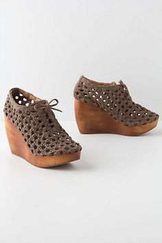 Woven Wood Wedges $298.00 #Anthropologie
