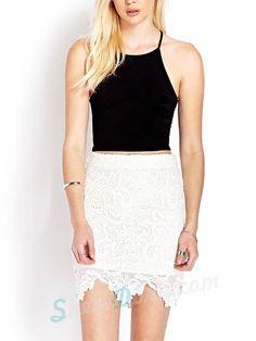 Paisley Milky White Crochet Lace Half-length Skirt