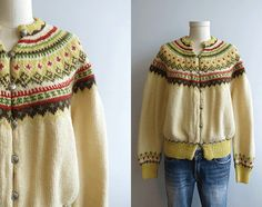Vintage Nordic Wool Fair Isle Cardigan / 1950s Hand Knit Sweater Cream Yellow Fall Colors