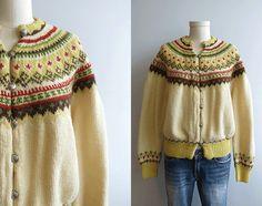 Vintage Nordic Wool Fair Isle Cardigan / 1950s Hand Knit Sweater Cream Yellow Fall Colors