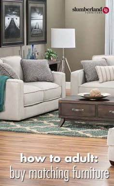 How To Adult: Buy Matching Furniture Living Room Furniture Sets, Basement  Ideas, Living