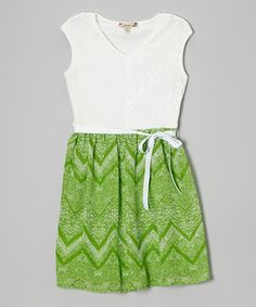 Look what I found on #zulily! White & Green Lace Zigzag Dress - Girls by Speechless #zulilyfinds