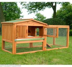 Large Wooden Rabbit Hutch Bunny Cage Chicken Coop Guinea Pig House Animal Supply