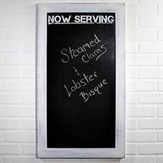 Now Serving - White Wash Wood Framed Chalkboard - Steamed Clams, Framed Chalkboard, Lighted Canvas, Whitewash Wood, Canvas Signs, Commercial Kitchen, Block Lettering, Business Presentation, Teaching Materials
