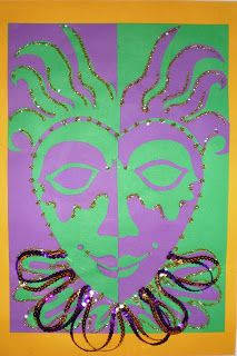 Mardi Gras Masks based upon a Notan concept Mardi Gras, 4th Grade Art, School Art Projects, Art Lessons Elementary, Elements Of Art, Art Lesson Plans, Art Classroom, Art Plastique, Art Activities