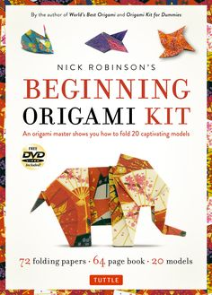 """Nick Robinson's latest kit is a good introduction to folding, collecting 20 of his original designs ranging in theme from animals to objects, action-models and more. Each design has few, straightforward steps, and is always a fun, original approach to the subject. The kit comes with a pack of good quality paper, with patterns or solid colors on both sides, and a DVD with instruction videos for all models in the booklet."" —GiladOrigami.com"