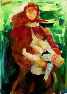 MATERNITY Filipp Andreevich Malyavin (1869~1940) | Impressionism, Expressionism, Art Nouveau