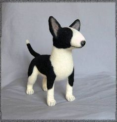 Toy #Bull #Terrier                                                                                           Mais Needle Felted Animals, Felt Animals, Wet Felting, Needle Felting, Inspiration Artistique, Felt Dogs, English Bull Terriers, Bullies, Stuffed Toys Patterns