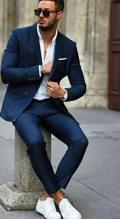 Blue suit and sneakers trendy mens fashion, mens fashion suits, man fashion, stylish Trendy Mens Fashion, Mens Fashion Suits, Stylish Men, Classic Mens Fashion, Classy Fashion, Suits And Sneakers, White Sneakers, Men's Fashion Sneakers, Men Sneakers
