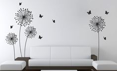 "Stylish Modern Flower design with butterflies ★ SIZE ★ 65"" H by 110"" W For custom size, please contact us:) DEFAULT COLOR for this listing"