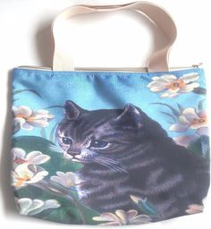 Cat kitten flower garden kitty pet fun shoulder handbag tote handmade zipper bag #designcer #ShoulderBag