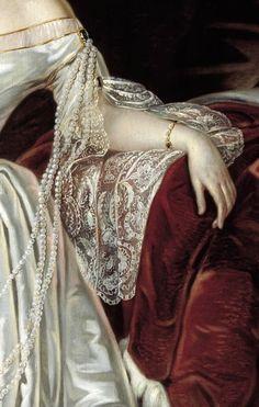 Detalle del Retrato de la Emperatriz Alexandra Fedorovna con vestido blanco. Karl Reichel <81874-1944).
