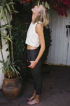 cropped tank + trousers