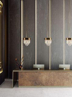 As soon as you step into the hotel lobby, you're welcomed by a neutral colour palette that leaves room for NAICCA Pendant Lights to shine #luxuryhotels #hotels #hospitality #designhotels #berlin #brabbucontract @brabbucontract