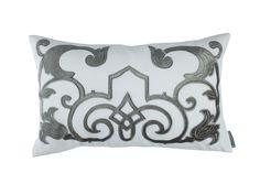 Mozart Decorative White Linen / Silver Velvet (14 x 22) L277WS