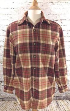 J PETERMAN Company Plaid Flannel Shirt Size Small Button Front Brown Long Sleeve #JPeterman #ButtonFront