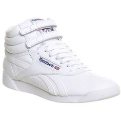 Reebok Freestyle Hi ($78) ❤ liked on Polyvore featuring shoes, sneakers, hers trainers, trainers, white collegiate royal, white high tops, velcro shoes, velcro high-top sneakers, white sneakers and white high top sneakers