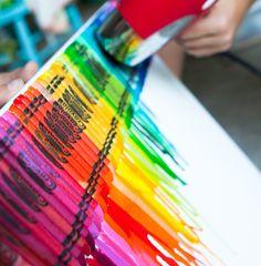 Crayon Art… Glue gun crayons on a canvas, apply heat from blow dryer & be an artist.