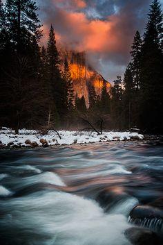 Merced and El Capitan at Last Night by Tom Post      Yosemite National Park, California, USA