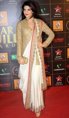jacqueline fernandez in classy double border saree drape
