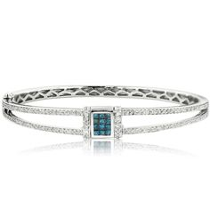 Diversa White Gold Blue Diamond and Diamond Bangle