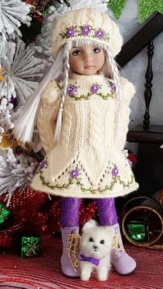 """DRESS,HAT&BOOTS SET MADE FOR EFFNER LITTLE DARLING,MY MEADOW&MARU 13"""" DOLLS"""