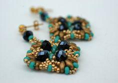 Beadwork Geometric Stud Earrings  by craftybeadcollection on Etsy