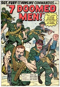 Fury And His Howling Commandos in 7 Doomed Men! Splash Page by Jack Kirby Comic Book Pages, Comic Book Covers, Comic Books Art, Book Art, Western Comics, Marvel Comic Universe, Comics Universe, Marvel Art, Marvel Heroes