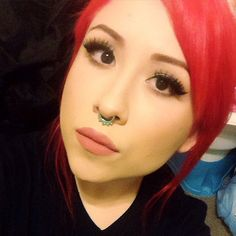 @makeupdrunkkie's #PillarboxRed hair and gorgeous faux lashes.