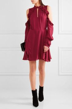 IRO - Hanie Cutout Ruffled Crepe Mini Dress - Burgundy
