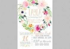 Boho Birthday Invitation, Printable, Girls, Wreath, Floral, Watercolor, Kids Birthday Invitation [86]