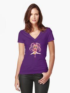 Sid Snake - Black Women's Fitted V-Neck T-Shirt Front -   Compra «Serpiente SidNegro» de Alan Hogan en cualquiera de estos productos: Camiseta, Camiseta clásica, Camiseta de tejido mixto, Sudadera con capucha ligera, Camiseta entallada de cuello redondo, Camiseta entallada de cuello en V, Camiset...#redbubble #halloween