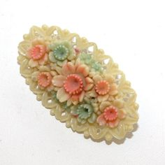 Occupied Japan Celluloid Oval Flower Brooch by GeneralWhimsy2, $23.00